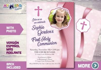 First Communion Invitation for Girls. 1st Communion Invitation. 384