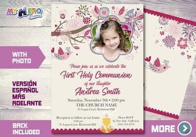 Girl First Communion Invitation. First Holy Communion Invitation. 386