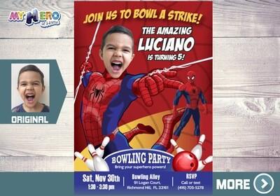 Spiderman Bowling Party Invitation. Bowling Party themed Spiderman. Avengers Bowling Party Ideas. Fiesta Bowling de Spiderman. 146