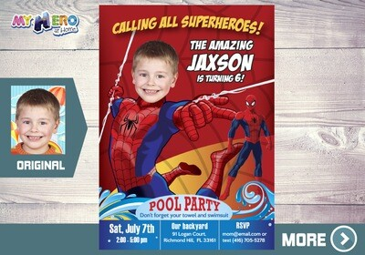 Spiderman Pool Party Invitation. Pool Party themed Spiderman. Spiderman Birthday Party Ideas. Spiderman summer Party Ideas. 105