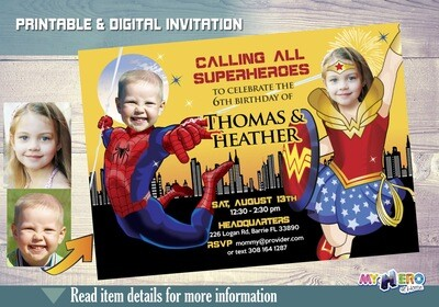 Spiderman and Wonder Woman Birthday Party Invitations. Turn your children into Superheroes. Joint superheroes boy and girl ideas. 181