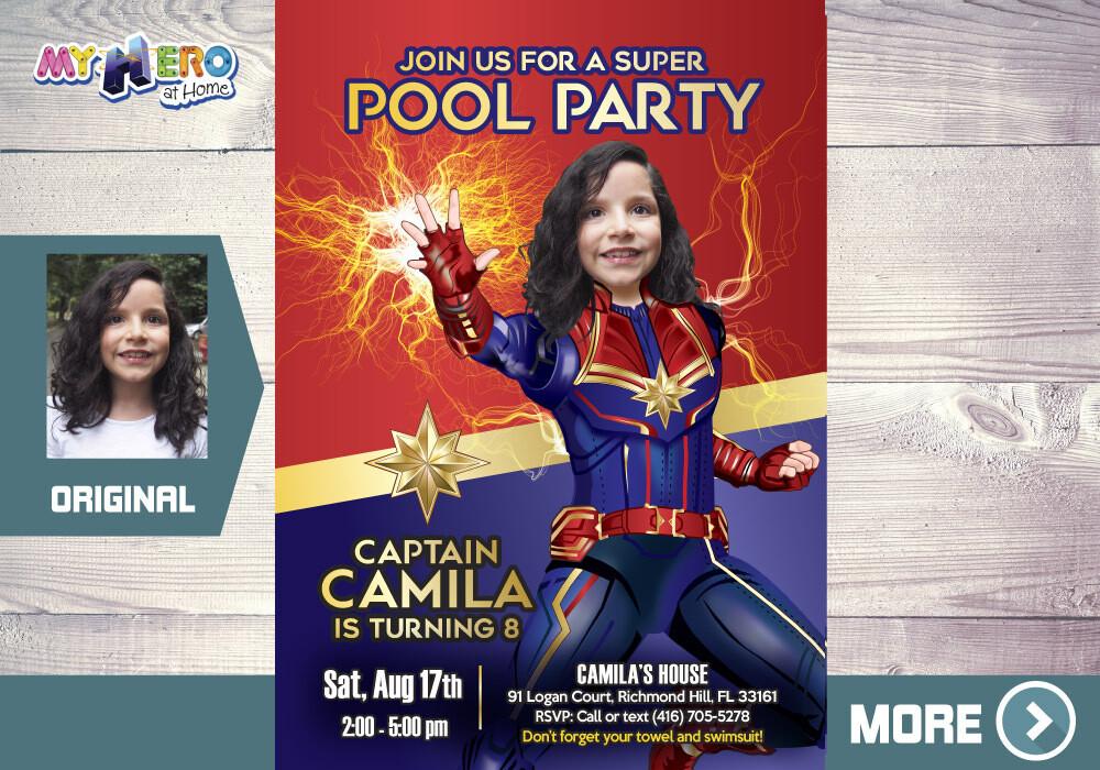 Captain Marvel Pool Party Invitation. Captain Marvel Pool Party Birthday. Avengers Pool Party Invitation. Captain Marvel Water Party. 353