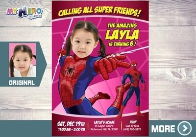 Spider Girl Invitation. Spider-Man Birthday Ideas for girls. Spider-Girl Party Ideas. Spider-woman party. Spider-Girl Birthday. 158