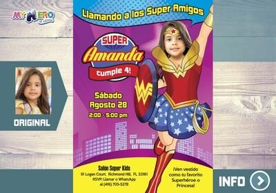 Mujer Maravilla Invitación de Cumpleaños. Fiesta tema Mujer Maravilla. Ideas Cumple Wonder Woman. Wonder Woman Invitación. 127SP