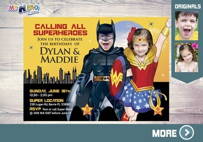 Batman and Wonder Woman Birthday Invitation. Superheroes Sister & Brother. Joint Superheroes Party Ideas. Super Siblings Party. 132