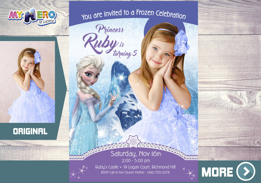Frozen Invitation with your child as Elsa. Frozen themed party. 269