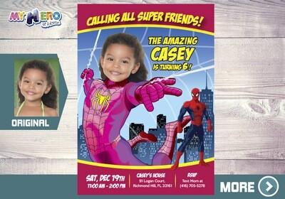 Pink Spider-Girl Invitation. Spider-Man Birthday Idea for girls. Pink Spider girl Party Ideas. Spider-woman Ideas. Spider-Girl Birthday. 391