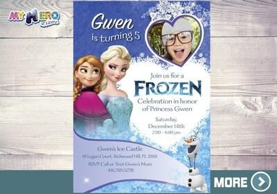 Frozen Birthday Invitation. Frozen Photo Invitation. 275