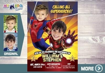 Joint Avengers birthday. Iron Man & Spiderman Birthday Invitation. Superheroes Birthday Invitation. Brothers Superheroes Birthday Party. 295