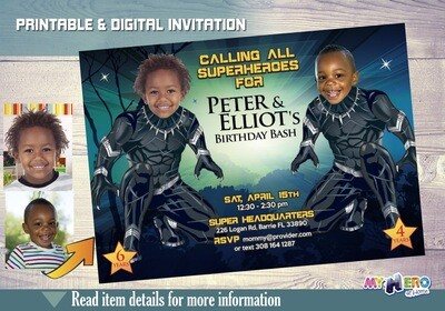 Black Panther Siblings Birthday Invitations. Wakanda Forever. Black Panther Siblings Party Ideas. Black Panther Birthday for 2 boys. 179