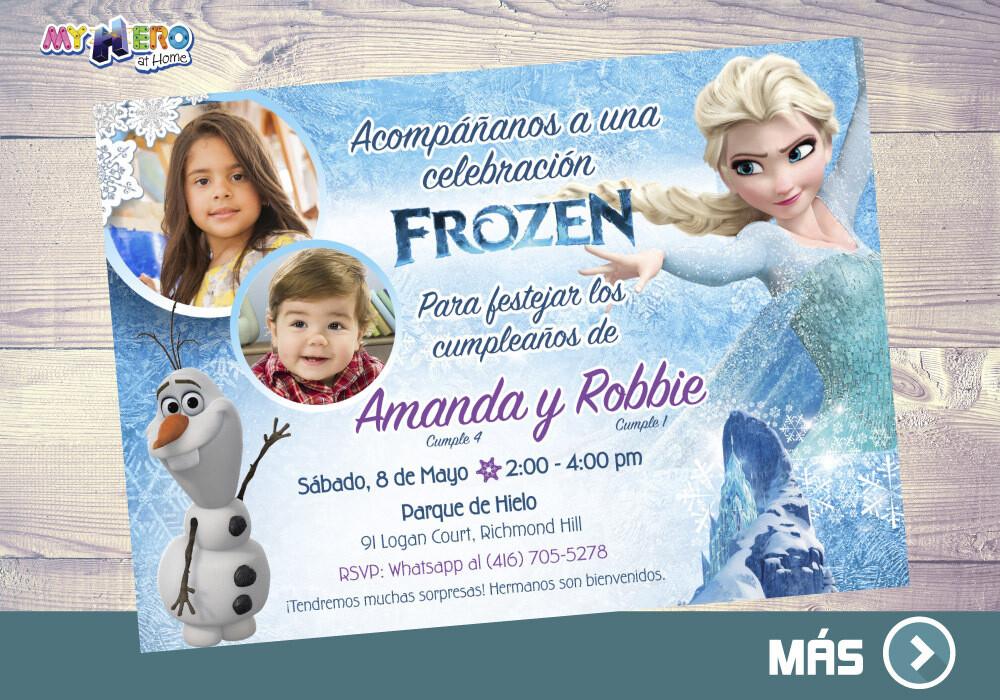 Frozen Invitación para Hermanos. Fiesta tema Frozen para 2 niños. 282SP