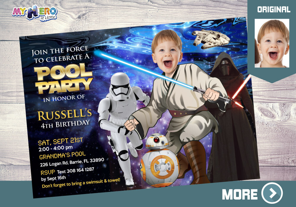 Star Wars Pool Party Invitation. Pool Party themed Star Wars. Jedi Pool Party. Star Wars Party. Star Wars Splash. Star Wars Barbecue. 014