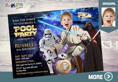 Star Wars Pool Party Invitation. Pool Party themed Star Wars. Jedi Pool Party. Star Wars Party. Star Wars Splash. Star Wars Barbecue. 014