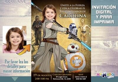 Invitación de cumpleaños Star Wars para niñas. Convierta a su niña en la Jedi Rey. Ideas Fiesta Jedi Rey. Cumpleaños Jedi Rey. 012SP