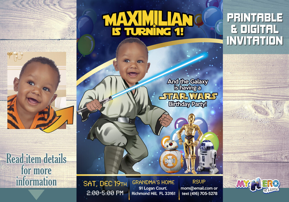 Star Wars First Birthday Invitation. Turn your baby boy into a young Jedi. Star Wars Invitation. Baby Jedi. Baby's First Birthday. 017AA