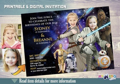 Star Wars Sisters Birthday Invitation. Turn your little girls into awesome Jedi. Friends Joint Star Wars Party Ideas for Girls. 029