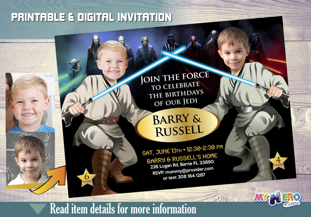 Star Wars Joint Birthday Invitation. Turn your children into Jedi. Star Wars Brothers Birthday. Star Wars siblings bday. Siblings Party. 030