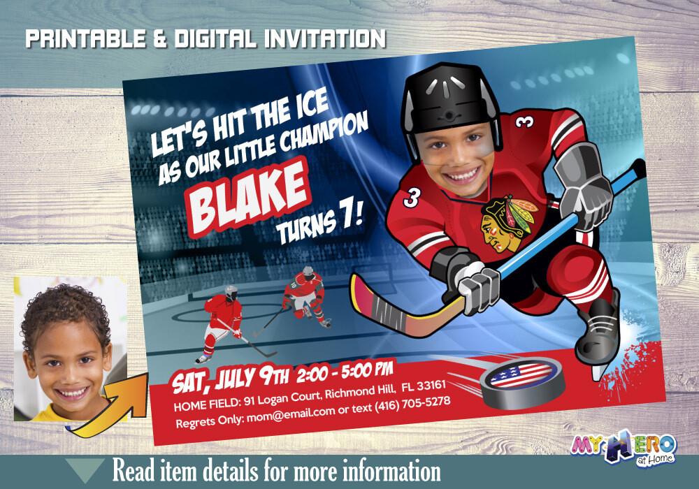 Chicago Blackhawks Invitation. Chicago Blackhawks Birthday Party. 302