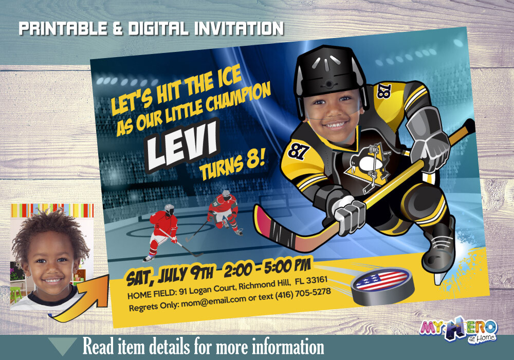 Pittsburgh Penguins Invitation. Pittsburgh Penguins Birthday Party. 306