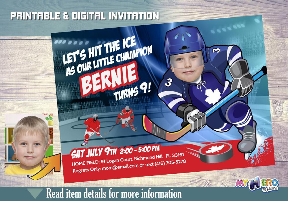 Toronto Maple Leafs Invitation. Toronto Maple Leafs Birthday Party. 309