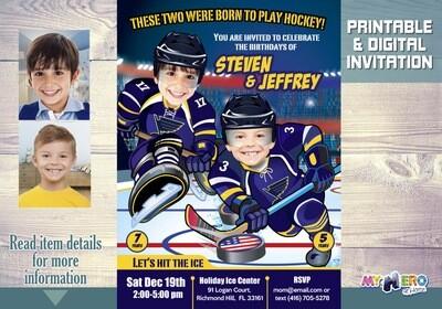 St. Louis Blues Siblings Invitation. Joint Hockey Birthday Invitation. 310