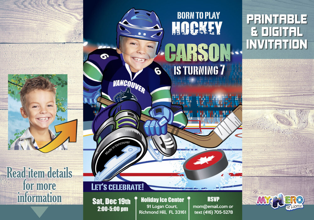 Vancouver Canucks Invitation. Vancouver Canucks Birthday Party. 327