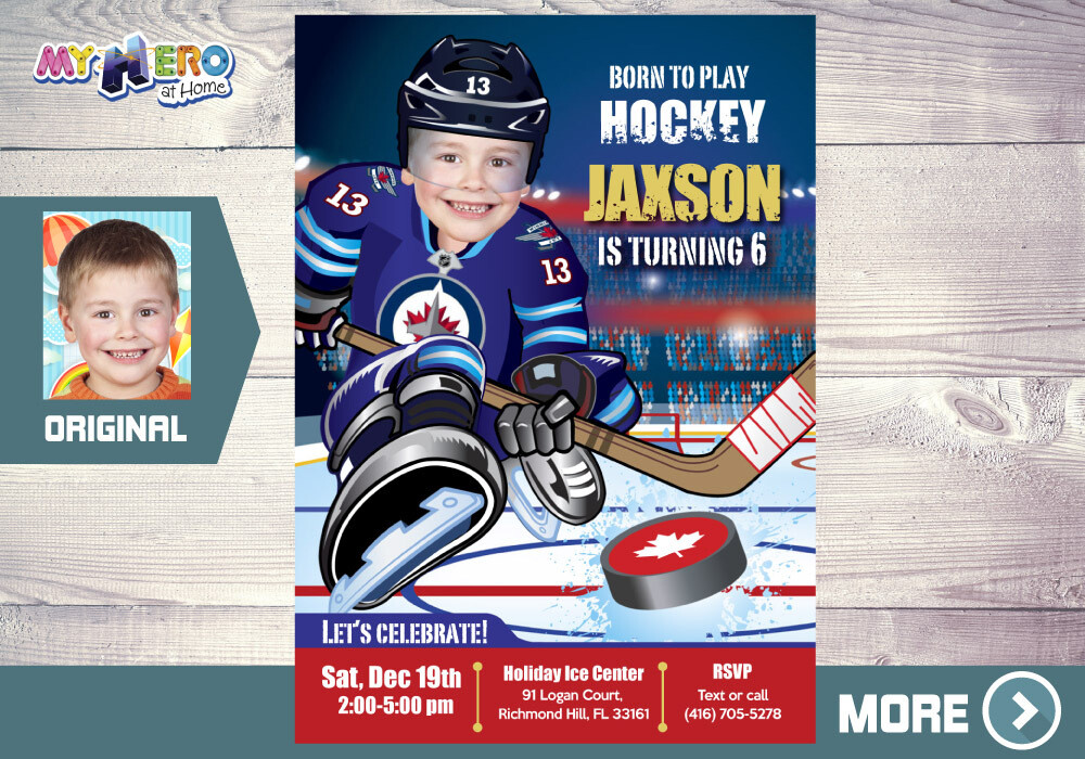 Winnipeg Jets Invitation. Winnipeg Jets Birthday Party. 394