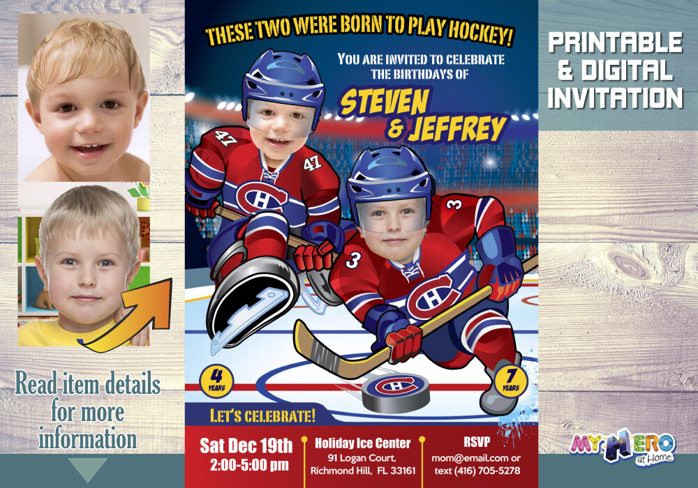 Montreal Canadiens Siblings Invitation. Joint Hockey Birthday Invitation. 328