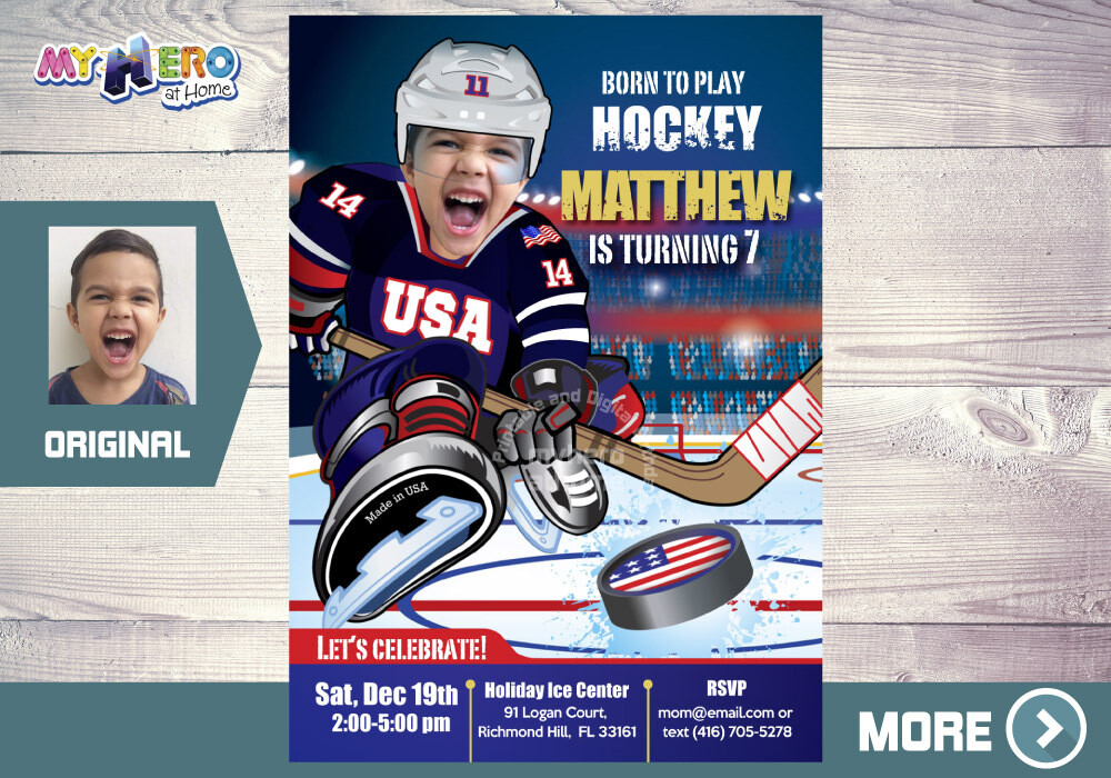 USA Hockey Invitation. USA Hockey Birthday Party. 404