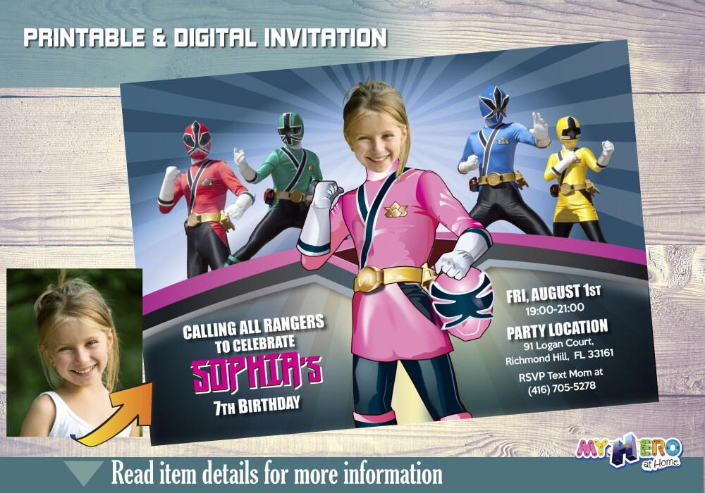 Pink Power Rangers Invitation. Girl Power Rangers Party. 059