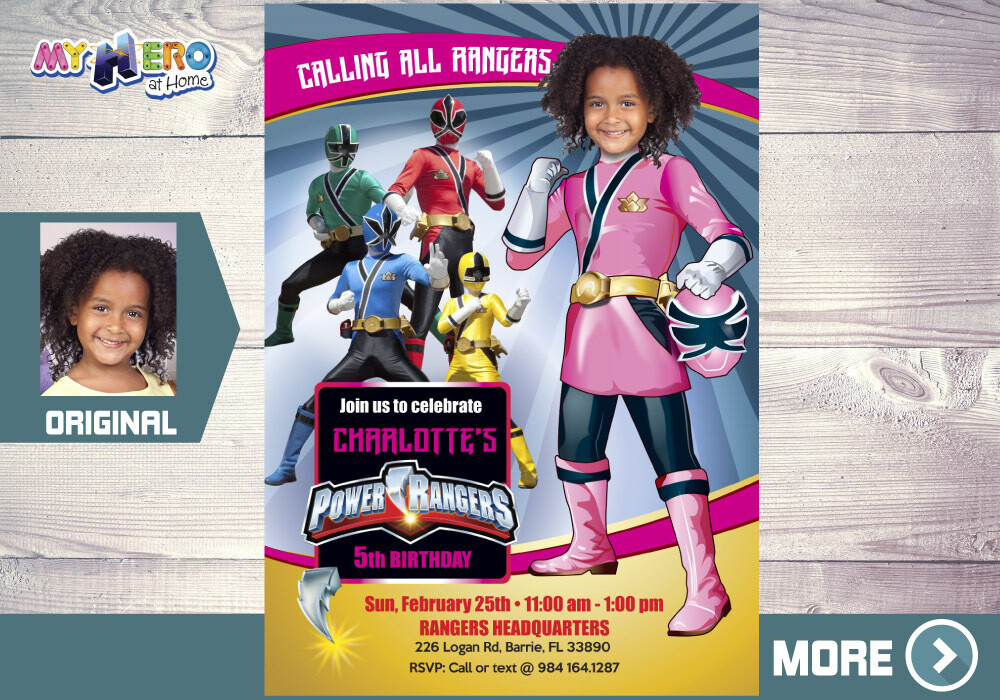 Pink Power Rangers Birthday Invitation. Girl Power Rangers Party. 396