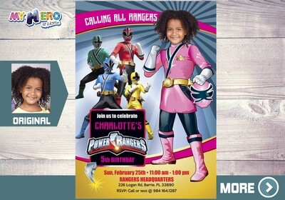 Pink Power Rangers Birthday Invitation. Girl Power Rangers Party. 396