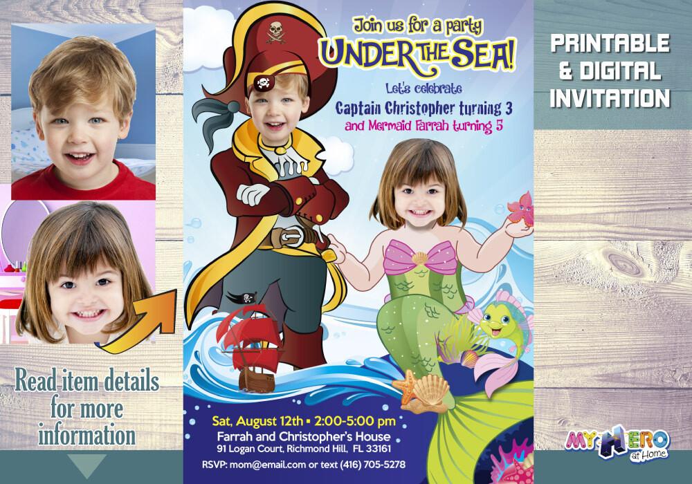 Mermaid and Pirate Birthday Invitation. Joint Mermaid and Pirate Invitation. 232