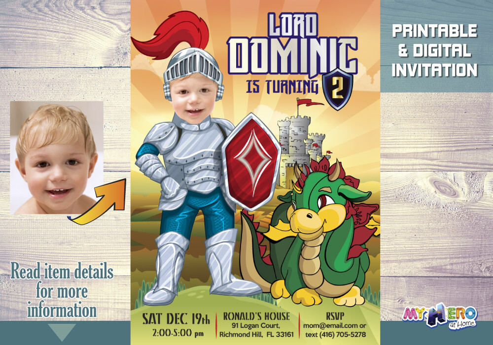 Baby Knight 1st Birthday Invitation. Dragons 1st Party. 217