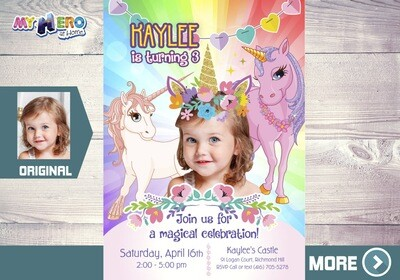 Unicorns Invitation. Your little girl as the star of her Unicorn birthday invitation. Unicorn Party Ideas. Magical Party Ideas. 286