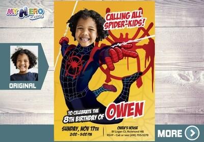 Spider-Verse Party. Spider Verse Invitation. Spider-Man Party. Spider-Verse Birthday. Miles Morales Invitation. Miles Morales Party. 401