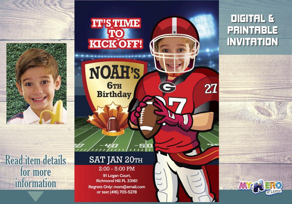 Georgia Bulldogs Invitation. Football Birthday Ideas. 322