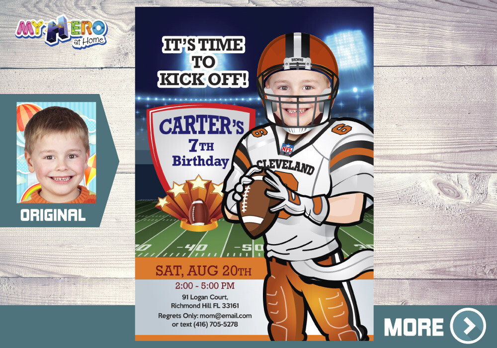Cleveland Browns Invitation. Cleveland Browns Party. 390