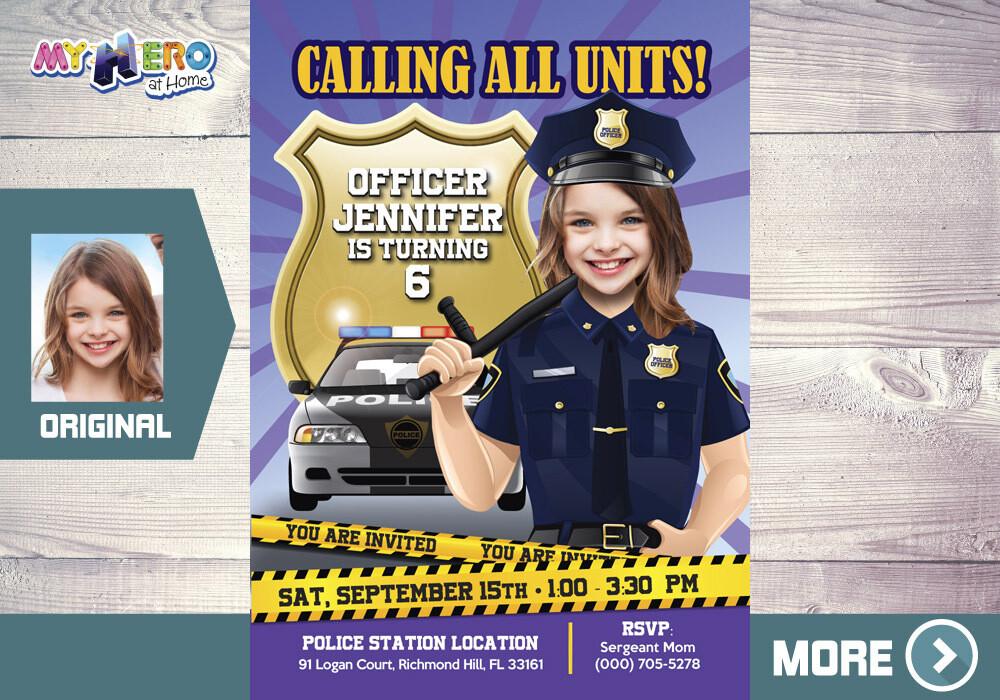 Police girl Birthday Invitation. Policewoman party invitation. Girl Police Party. 234
