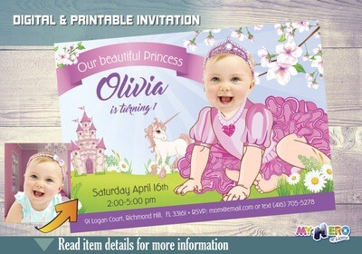 Baby Princess 1st Birthday. 1st Birthday Princess Photo Invitation. First Party Princess theme. Baby Princess First Party. Baby Unicorn. 245