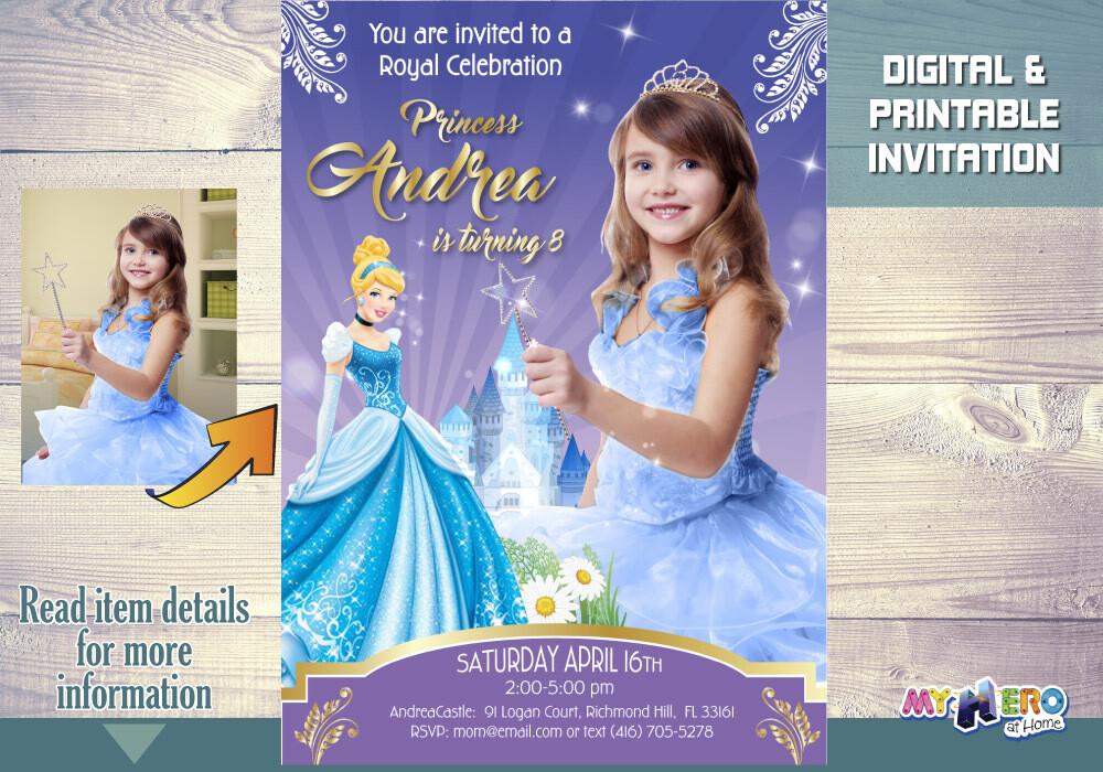 Cinderella Invitation. Cinderella Photo Invitation. Cinderella Birthday Ideas. Cinderella Party. Cinderella Themed Party. 259