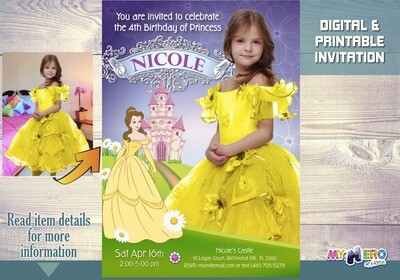Beauty and the Beast Birthday Invitation. With your girl as Princess Belle. Make her the star of her Belle Princess Party Invitation. 253