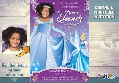 Cinderella Birthday Invitations. Your princess as beautiful as Cinderella! Turn your girl into a Princess for her Cinderella invitation. 266