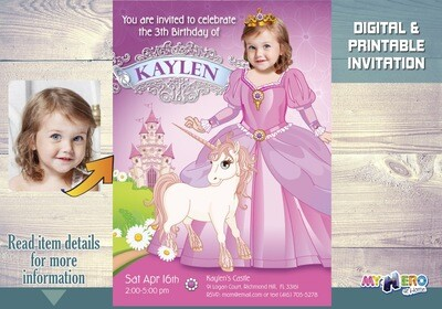 Princess Birthday Invitation. Make her the star of her Birthday invite. Pink Princess Party Ideas. Unique Princess Party. Unicorn Idea. 242