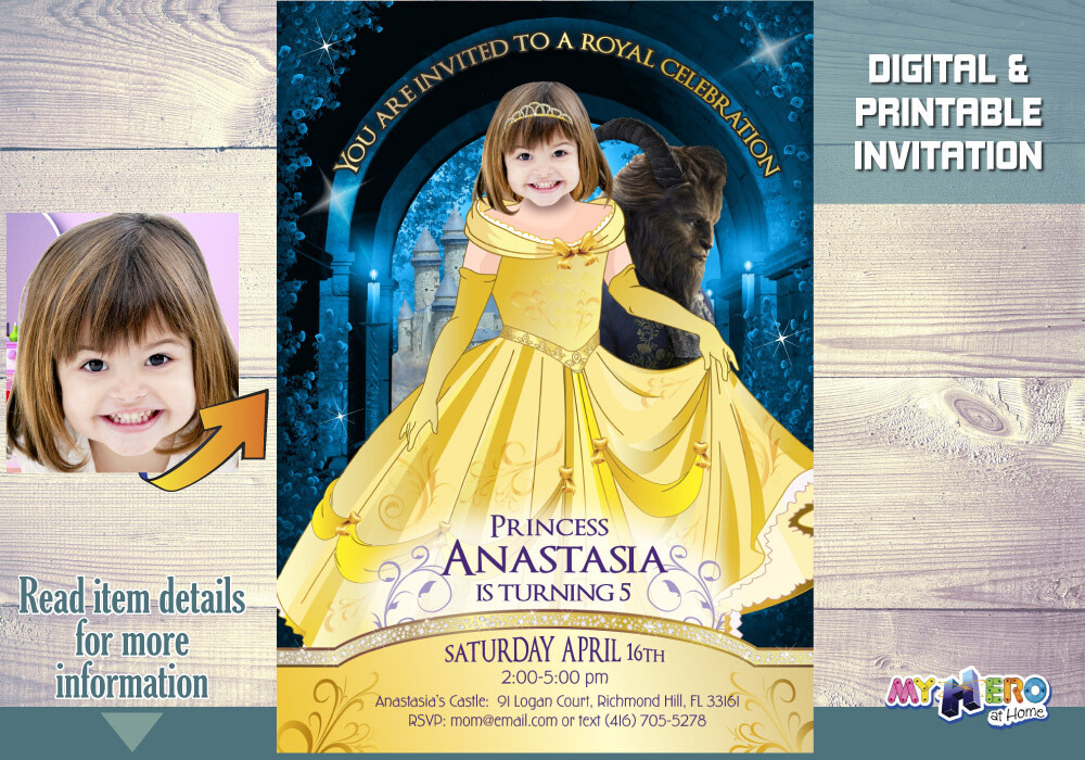 Princess Belle Birthday Invitation. Your girl as Princess Belle to be the star of her Beauty and the Beast Invite. Belle Party Ideas. 251
