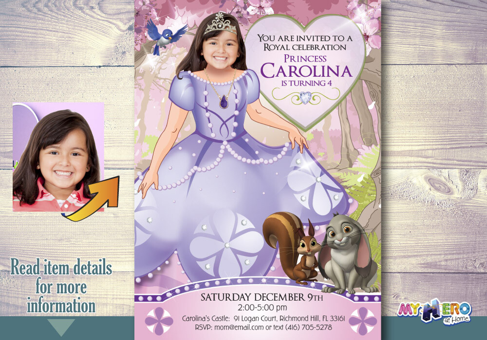 Princess Sofia Birthday Invitation. Princess Sofia Party Ideas. Turn your little girl into Princess Sofia. Fiesta tema Princesa Sofia. 264