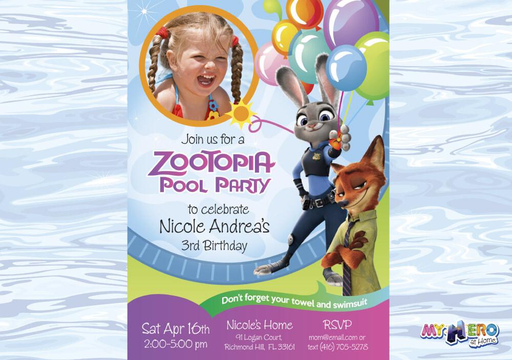 Pool Party Zootopia Invitation. Pool Party theme Zootopia. 055