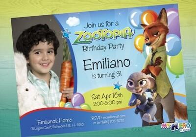 Zootopia Birthday Invitation for boys. Zootopia Birthday. 058