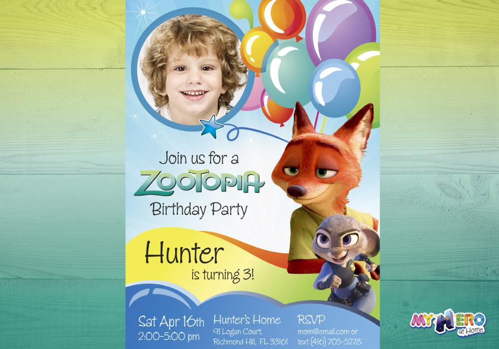 Zootopia Birthday Invitation for boys. Zootopia theme party. 056