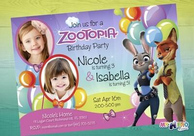 Joint Zootopia Invitation. Zootopia Siblings Invitation. 057